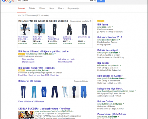 Google Shopping eksempel