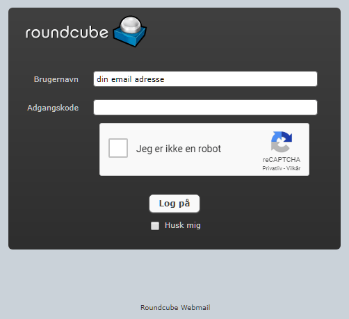 roundcube Webmail hos Golden Planet